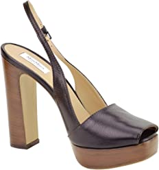 MaxMara Open Toe Slingback Platform Heels Italian Leather Size 8.5 & 9 Perfect for Night or