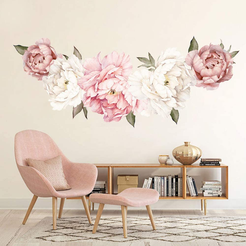 Flower Wall Sticker, Rohome Waterproof PVC Peel and Stick Rose Wall Decals Home Decor for Sofa Background Living Room Bedroom Kitchen Nursery Room Decorations(Parent) (02)