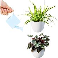 Maceta colgante de cerámica blanca con cuatro macetas, diseño minimalista moderno, ideal para suculentas, hierbas…