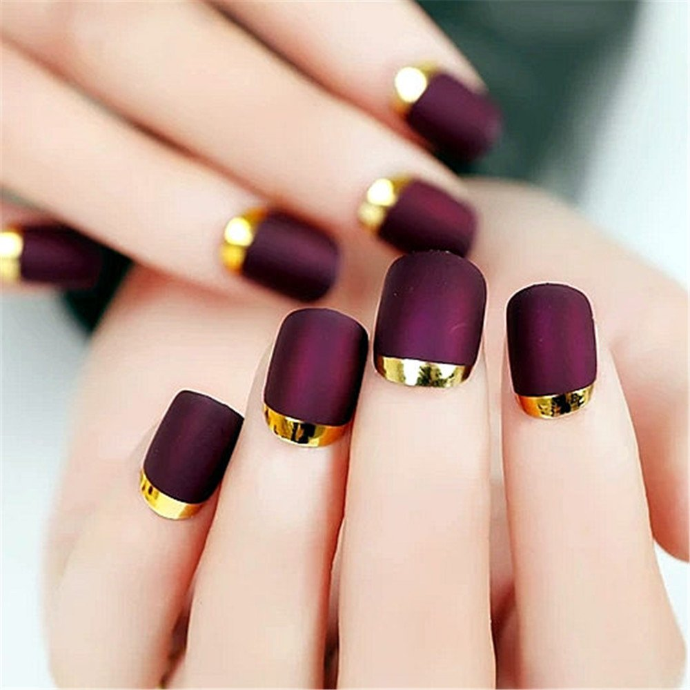 BloomingBoom 24 Pcs 12 Sizes Full Cover False Fake Nail Artificial Faux Ongle Matte + Metallic Around Short Square Squared Oval Squoval French Style Chrome Press On Dark Rose Purple Gold Hemming Ltd