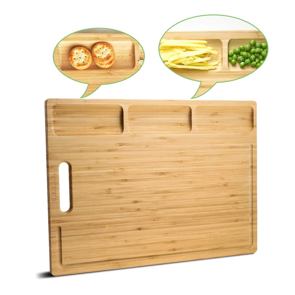 HHXRISE Venfon Large Organic Bamboo Cutting Board For Kitchen, With 3 Built-In Compartments And Juice Grooves, Heavy Duty Chopping Board For Meats Bread Fruits, Butcher Block, Carving Board, BPA Free by HHXRISE (Image #7)