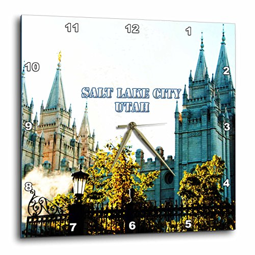 3dRose Jos Fauxtographee- Salt Lake City, Utah Temple - The Salt Lake City LDS Temple with spires reaching to the sky - 13x13 Wall Clock - Utah Salt City Lake Outlets
