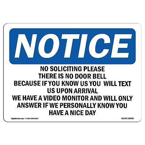 OSHA Notice Do Not Ring Doorbell Or Knock On Door For SignHeavy Duty