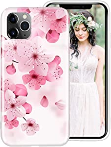 iPhone 11 Pro Case for Women Girls, iDLike Floral Flower Cherry Blossom Pattern Cute Design Soft Silicone Protective Phone Case Cover for Apple iPhone 11 Pro 5.8 2019, Pink