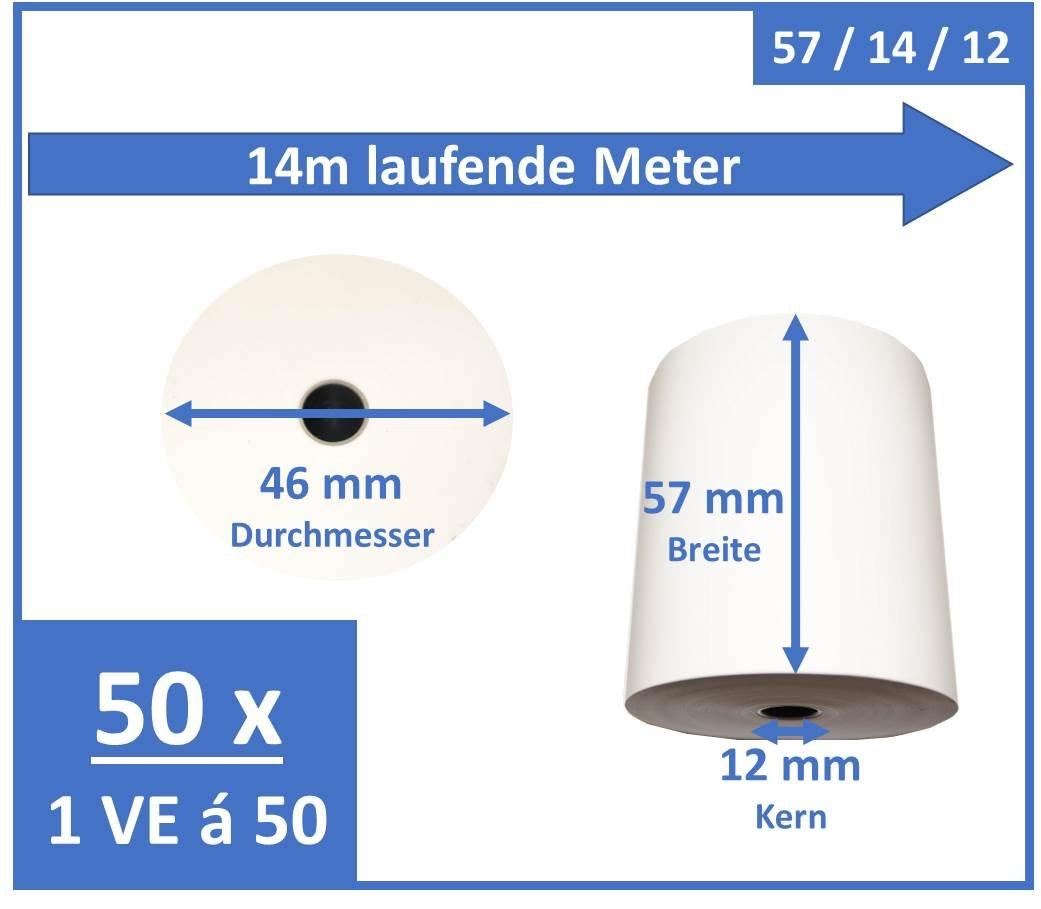 Epson 50x Bonrolle Thermopapier EC-Cash Papier, 57mm x 14m, Epson-zertifiziert