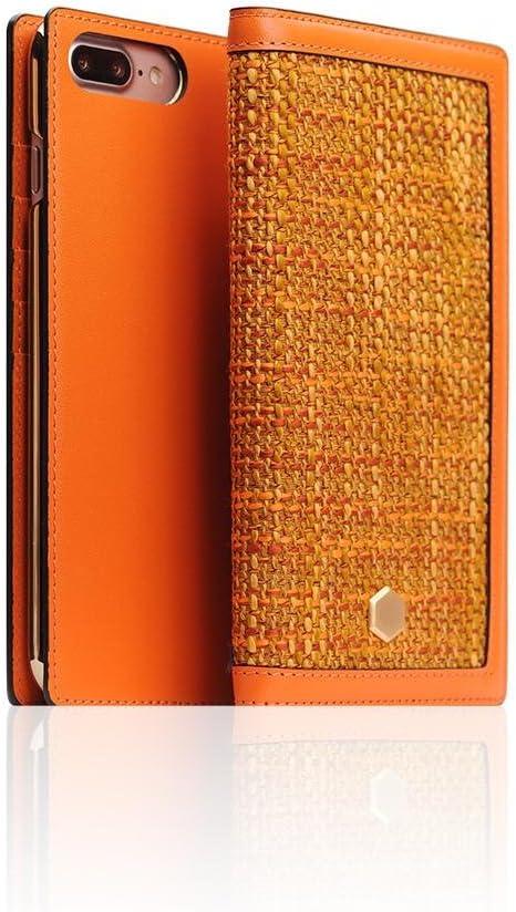 SLG Design D5 CSL Folder Case for iPhone 7|8 Plus, Orange, Italian Premium Leather, Handcrafted