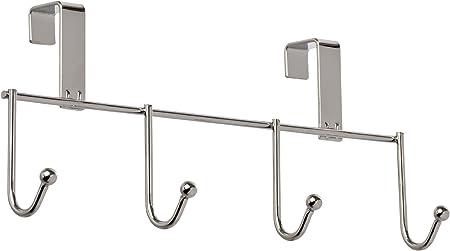 Wenko Cuelgapa/ños 3 ganchos para puerta armario Marrone Metallo