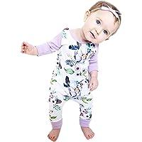 Arleysh Newborn Baby Girls Floral Print Long Sleeve Bodysuit Romper Jumpsuit Playsuit Outfit Clothes Set