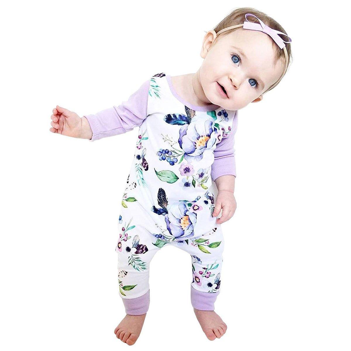 Newborn Baby Girls Floral Print Long Sleeve Bodysuit Romper Jumpsuit Playsuit Outfit Clothes Set