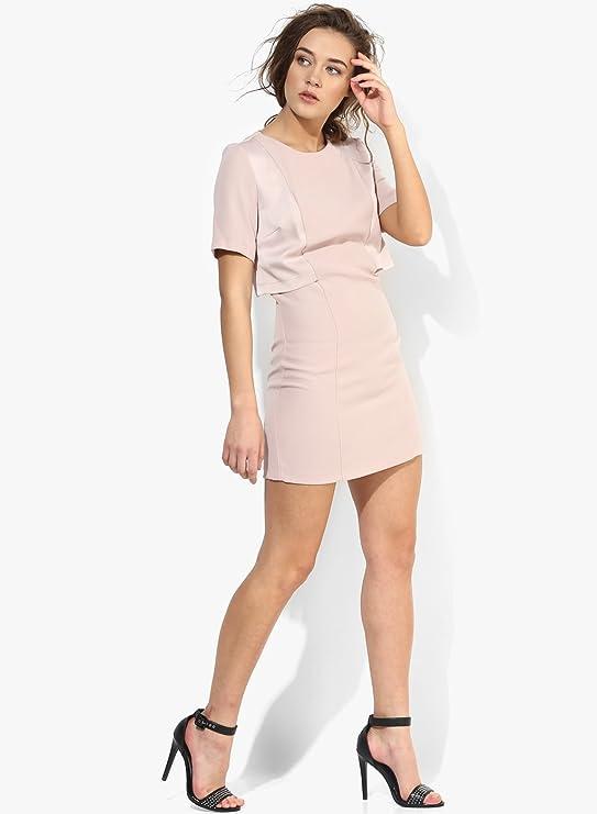 Topshop A-Line Tube Pencil Mini Overlay Nude Pink Peach Shift Office Dress UK 16: Amazon.co.uk: Clothing