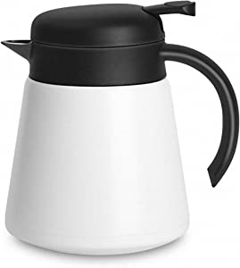 Luvan 304 18/10 Stainless Steel Thermal Carafe/Double Walled Vacuum Insulated Coffee Pot with Press Button Top,24+ Hrs Heat&Cold Retention,BPA Free,for Coffee,Tea,Beverage etc (WHITE, 800ml)