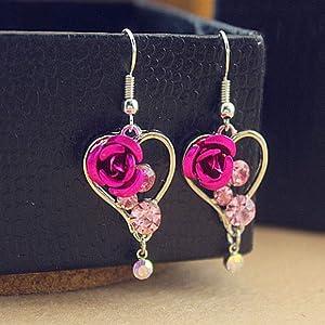 Pink Crystal Rose Earrings Chandelier Heart Earrings Dangle Earrings Jewelry Hot Best Fine Accessories Women Fashion Stylish Design Cheap Bright Designer