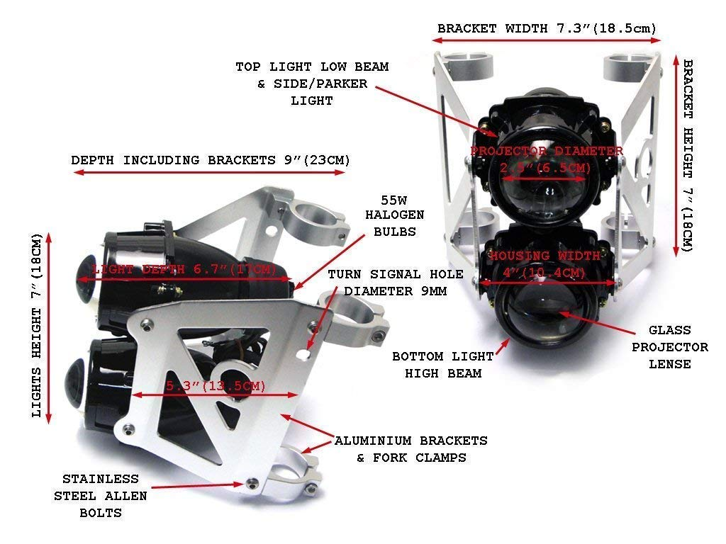Dual Stacked Streetfighter Projector Motorcycle Motorbike Headlight Set Emarked for 40//41mm Forks