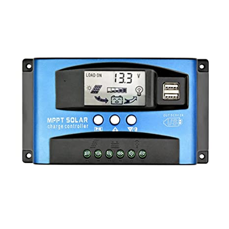 AOSHIKE 30A MPPT Solar Charge Controller with LCD Display,Multiple Load  Control Modes,New Mppt Technical Maximum Charging Current(30A)