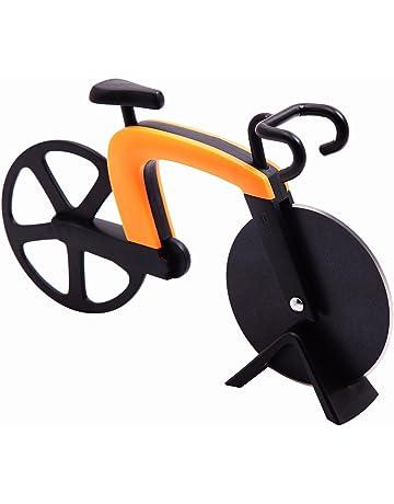 GA Homefavor Cortapizzas con Recubrimiento Antiadherente Cortador de Pizza con Forma de Bicicleta