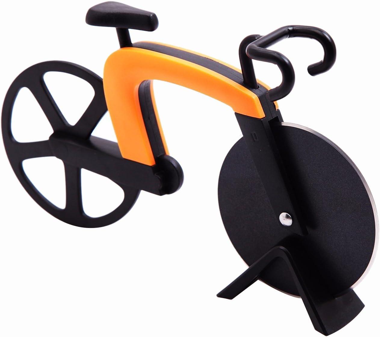 G.a HOMEFAVOR Cortapizzas con Recubrimiento Antiadherente Cortador de Pizza con Forma de Bicicleta: Amazon.es: Hogar