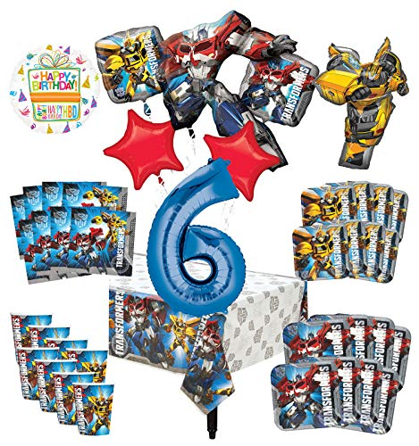 Transformers 6th Birthday Party Supplies 8 Guest Decoration Kit and Balloon Bouquet - (Ounce Cups 9 Transformers)