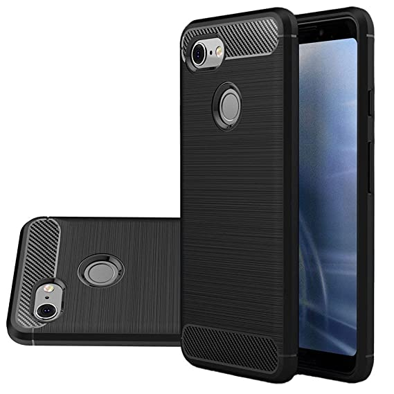 new styles ee1b1 e253d Google Pixel 3 Case, Vinve [Slim Thin] Carbon Fiber TPU Shock Absorption  Anti-Scratches Flexible Soft Protective Case Cover for Google Pixel 3  (Black)