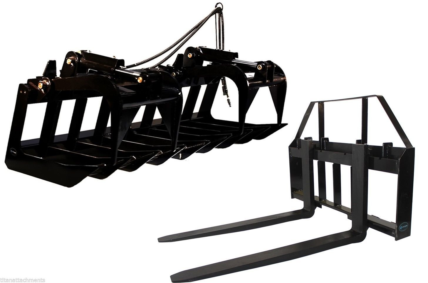 Titan Attachments 60' Root Grapple Bucket & 42 HD Pallet Forks Package Skid Steer Loader Tractor