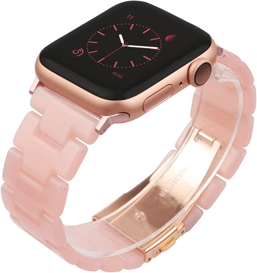 Wearlizer Pink Resin Compatible with Apple Watch Band 38mm 40mm for iWatch SE Lightweight Tone Womens Wristband Cool Replacement Classic Bracelet with Metal Buckle Clasp Series 6 5 4 3 2 1 Sport