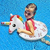 Kiddy Inflatable Unicorn Swim Ring - Happytime 2018 Pool Swim Ring Toys with Handle Water Fun Beach Party Toys for 3 Up Years Olds Kids