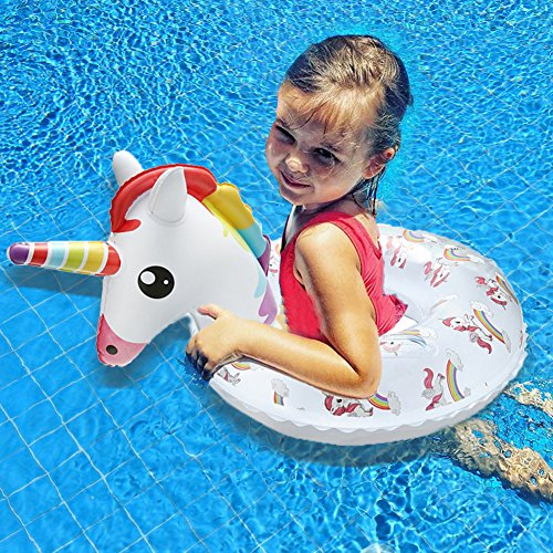 Kiddy Inflatable Unicorn Swim Ring - Happytime 2018 Pool Swim Ring Toys with Handle Water Fun Beach Party Toys for 3 Up Years Olds Kids by Happy-Time