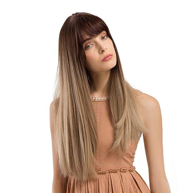 Amphia Lange Glatte Haare Frisur Kunsthaarperücken Für Schöne Und