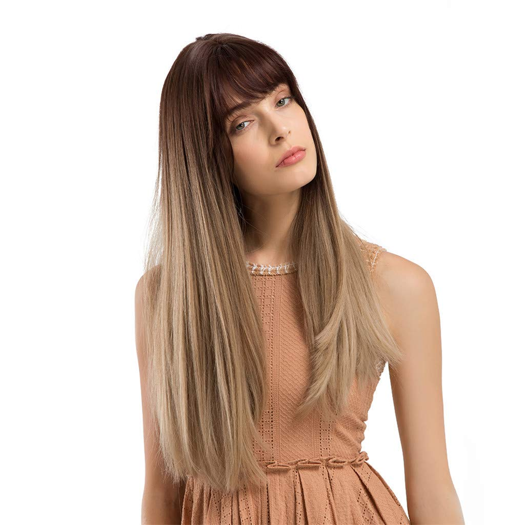 Oufenli Long Straight Hair Wig 22'' Long Hair Heat Resistant Synthetic Hair Replacement Wigs For White Women Daily Cosplay Party Wig(Brown)/Sent Weaving Cup (Brown)