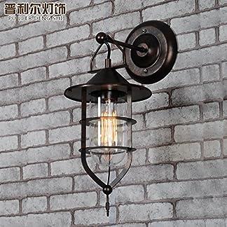 Lampada da parete in vetro personalità americana creativa ristorante caffetteria navata nordica personalità in ferro battuto vetro lampada da parete nera