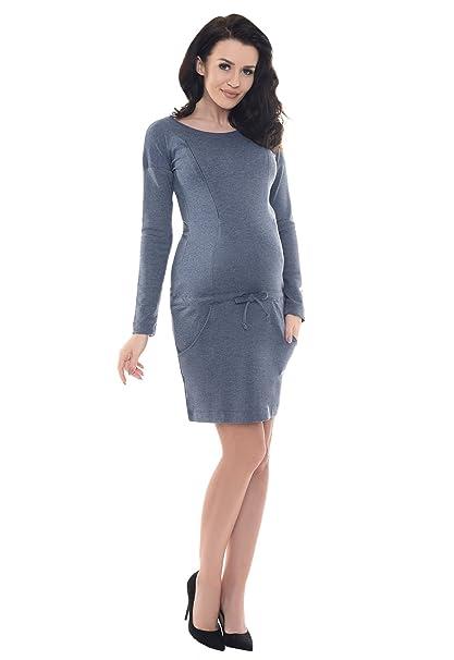 Purpless Maternity El Embarazo y de Enfermería Casual Vestido Con Los Bolsillos B6204 (36,