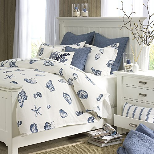 Harbor House Beach House Duvet Cover Twin Size - Blue, Ivory , Seashells Duvet Cover Set – 2 Piece – 100% Cotton Light Weight Bed Comforter Covers ()