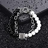 Trendsmax White Turquoise Black Glass Beaded