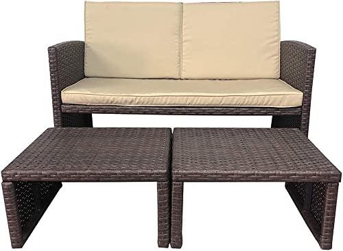 OC Orange-Casual 3 Piece Patio Furniture Set Outdoor Conversation Set All-Weather Wicker Loveseat