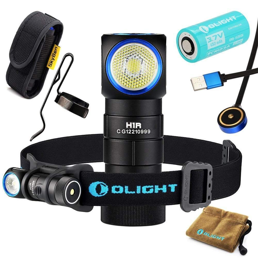 Olight H1R CREE XM-L2 LED 600 Lumens Rechargeable Headlamps with RCR123A Battery and SKYBEN Holster(Neutral White) by SKYBEN