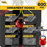 600 Pack Christmas Ornament Hooks – Ornament Hangers for Christmas Decoration (Silver)