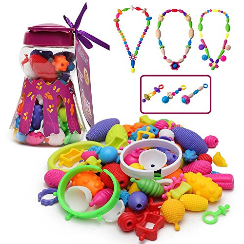 Old Plastic Beads (Pop Snap Beads Girl Toys - Wishtime Fashion DIY Jewelry Making Kit for Necklace and Bracelet for Girls Art Crafts Gift Toy Christmas Gift-85 Pieces Set)