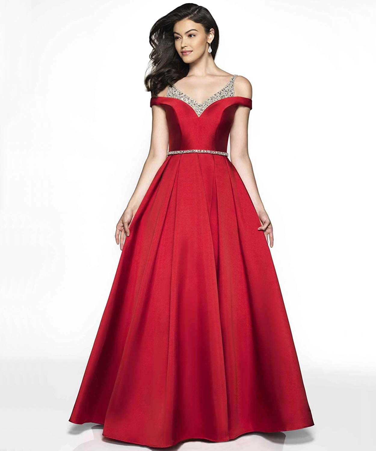 af895b7a7d2 YGSY Women s Cold Shoulder V Neck Pleated Satin A-line Evening Prom Dress  Long Formal Party Gown with Beaded Bodice at Amazon Women s Clothing store