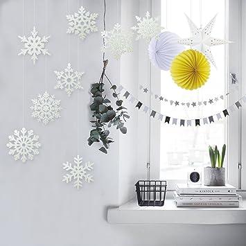 SUNBEAUTY Snowflake Hanging Deko Stern Lampions Zimmer Dekoration Papier  Deckendeko (Gelb U0026 Weiß)