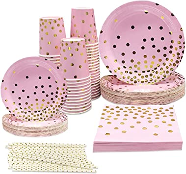 50 Count Pink And Gold Birthday Party Plates Cake Design Disposable Dinner 9 On