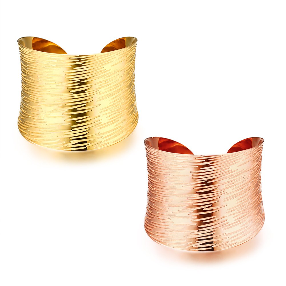 FOCALOOK Adjustable Vintage Stainless Steel Smooth Wide Cuff Bangle Bracelet for Women, Gold and Silver Available