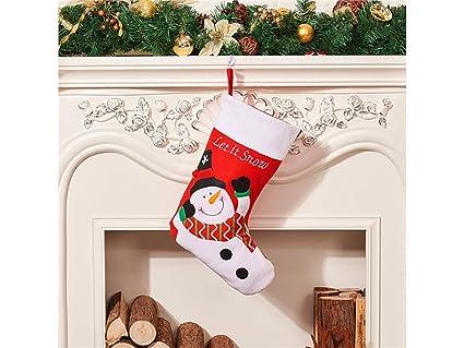 SUPRERHOUNG Decoración clásica de Navidad Make A Wish Snowman Calcetines de Navidad Bolsa de Dulces Bolsa