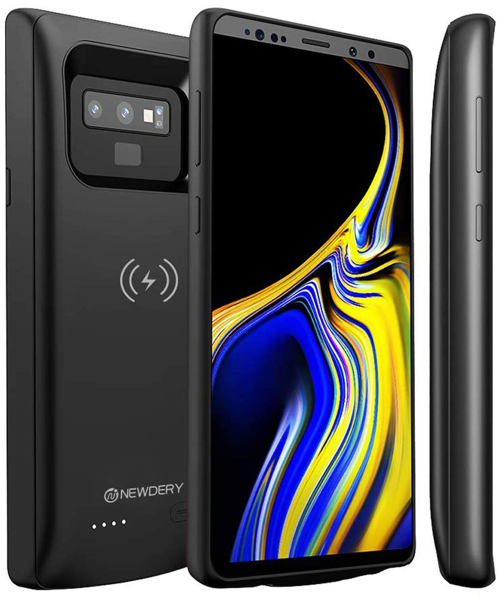 NEWDERY Upgraded Galaxy Note 9 Battery Case Qi Wireless Charging, 5000mAh Slim Rechargeable Extended Charger Case with Raised Bezel and Air Cushion Technology Compatible Samsung Galaxy Note 9 (Black) by NEWDERY