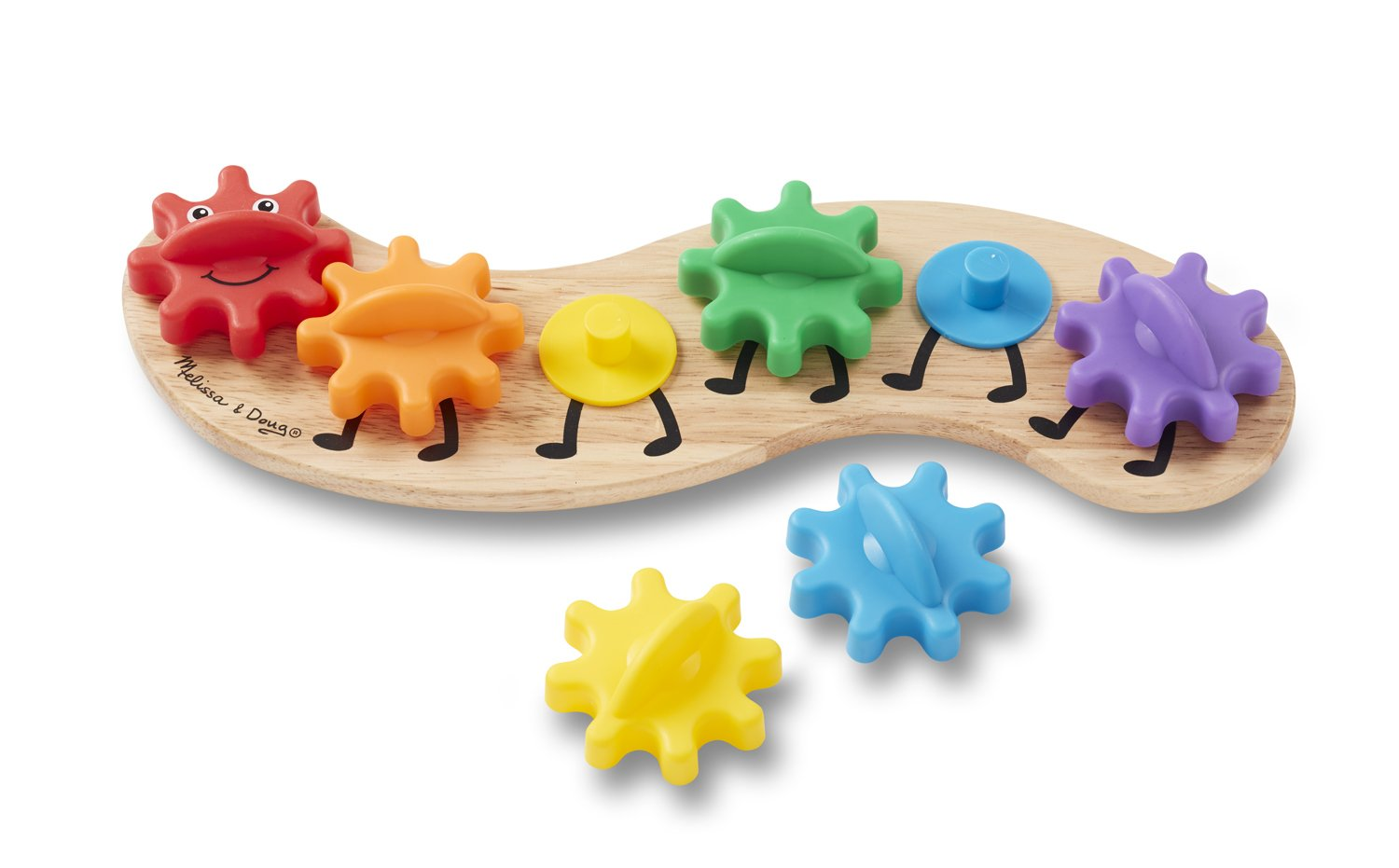Melissa & Doug Rainbow Caterpillar Gear Toy With 6 Interchangeable Gears 3084