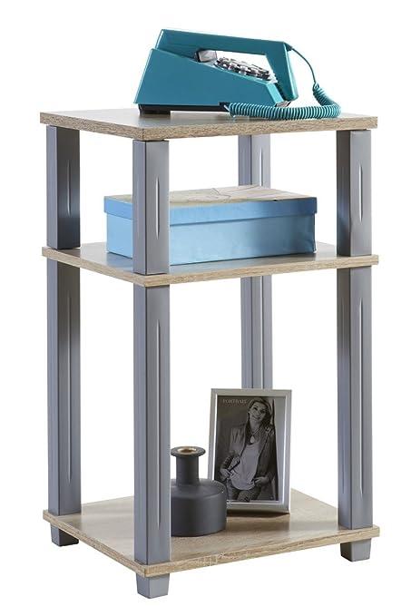 Mesa mesita auxiliar 3 estantes. Haya y gris. Para salón comedor ...