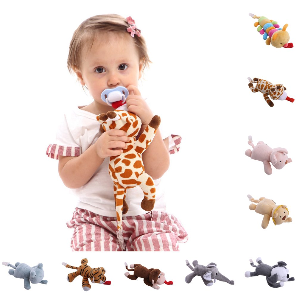 Tvvudwxx Schnullerclip Pl/üsch Puppe Schnuller Clip Schnullerkette Puppe Clip F/ür Baby M/ädchen Jungs Kind Elefant Tiger Hund