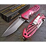 TAC-FORCE Assisted Opening Speedster PINK High Carbon Rescue Glass Breaker Knife