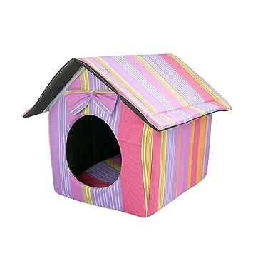 JEELINBORE Casa y Sofá para Mascotas Plegable Portátil Casetas Cama de Perro Gato Suave Cojín (34 * 28 * 25cm, Vistoso): Amazon.es: Hogar