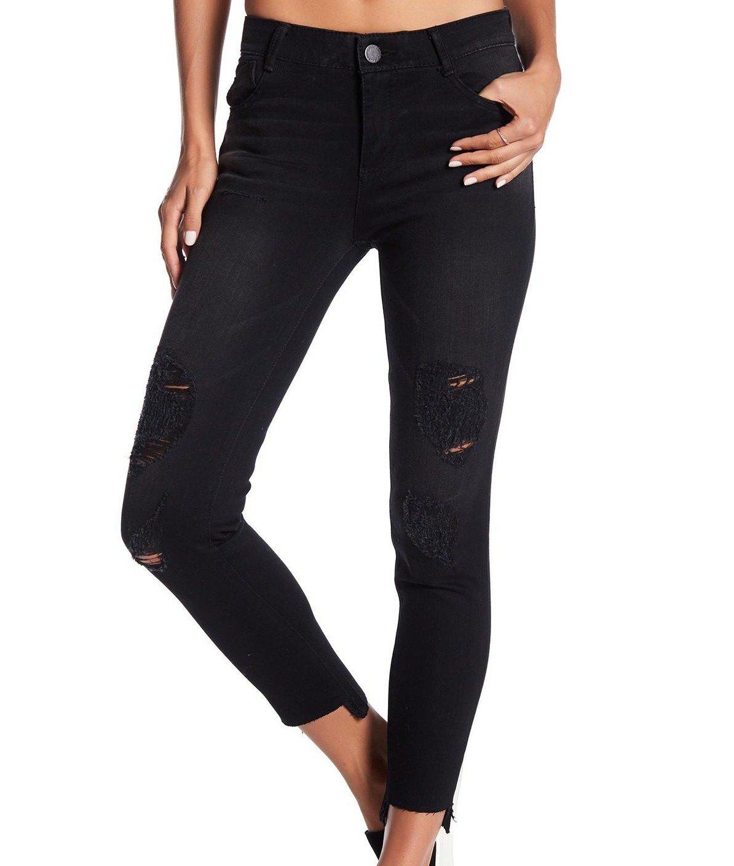 Jolt Deep Black Junior Slim Techno Fit Stretch Distressed Jeans 7