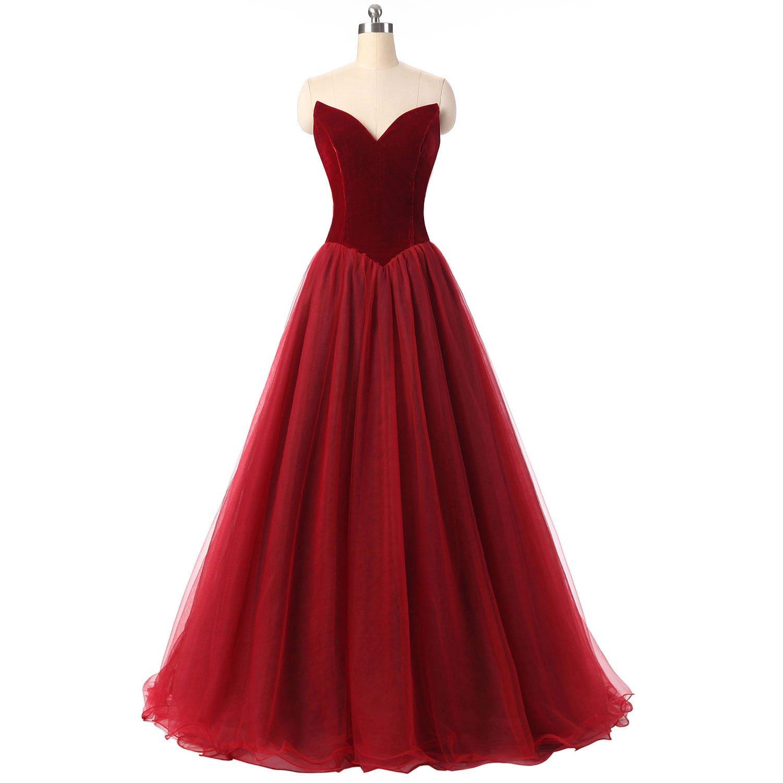 CEZOM Burgundy V Neck Formal Corset Prom Evening Dresses Celebrity Dress Lace Up