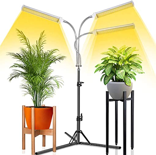 Abonnyc Grow Light with Stand LED Floor Grow Lights for Indoor Plants Full Spectrum Grow Lamp with Timer for Seedlings, 3 Switch Modes,15-47 inch Adjustable Tripod Stand Gooseneck